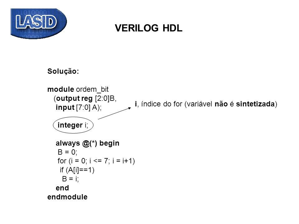 VERILOG HDL Solução: module ordem_bit (output reg [2:0]B,
